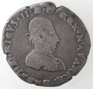 obverse: Francia. Enrico II di Béarn, III de Navarre. 1572-1589.Mezzo Testone 1575. Ag.