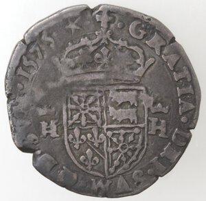 reverse: Francia. Enrico II di Béarn, III de Navarre. 1572-1589.Mezzo Testone 1575. Ag.