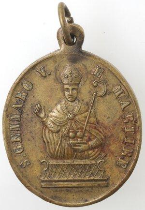 obverse: Medaglia religiosa. XIX sec. San Gennaro V. e Martire. Br.