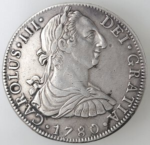 obverse: Messico. Carlo III. 1759-1788. 8 Reales 1780 FF. Ag.