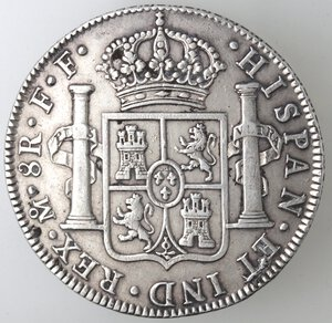 reverse: Messico. Carlo III. 1759-1788. 8 Reales 1780 FF. Ag.