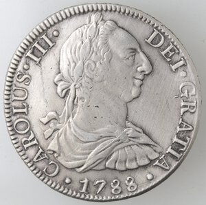 obverse: Messico. Carlo III. 1759-1788. 8 Reales 1788 FM. Ag.