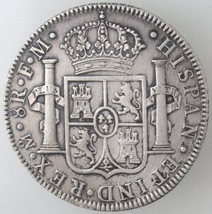 reverse: Messico. Carlo III. 1759-1788. 8 Reales 1788 FM. Ag.