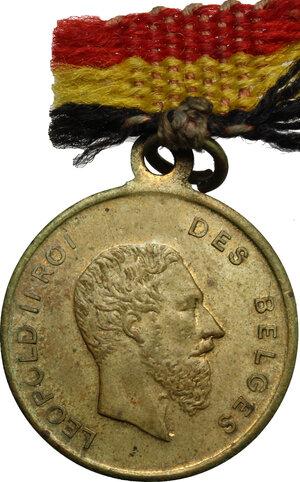 obverse: Belgium.  Leopold II (1865-1909), King of the Belgians.. AE Medal, 1879