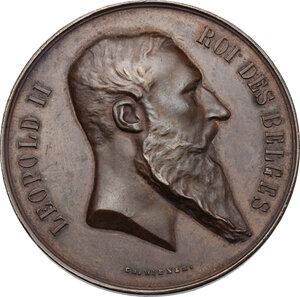obverse: Belgium.  Leopold II (1835-1909). AE Medal, 1880