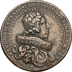 obverse: France.  Louis XIII (1610-1643).. AE Medal, 1629