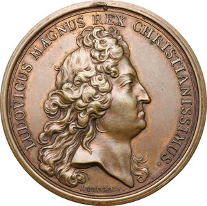 obverse: France.  Louis XIV (1643-1715). AE Medal, 1697