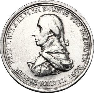 obverse: Germany.  Friedrich Wilhelm III (1797-1840).. AR Medal, 1803