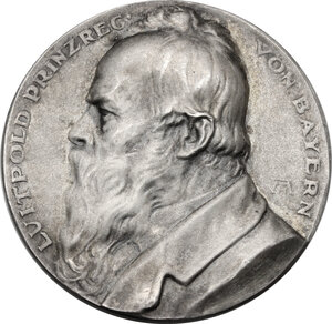 obverse: Germany.  Luitpold, Prince regent (1886-1912).. AR Medal, Nuremberg mint, 1912