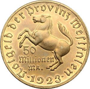 reverse: Germany. AE Token for 50 Million Marks, Westphalia, 1923