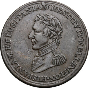 obverse: Great Britain.  Arthur Wellesley, 1st Duke of Wellington (1769-1852).. AE Medal, 1812
