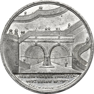 reverse: Great Britain.  Isambart Marc Brunel, inventor, engineer and architect (1769-1849).. Tin Medal, 1842