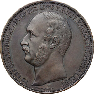 obverse: Great Britain.  Prince Albert of Saxe-Coburg and Gotha (1819-1861), Prince Consort. AE Medal, 1862