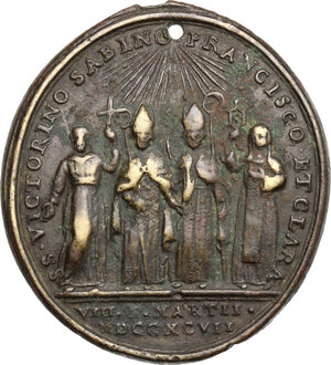 obverse: Italy.. AE Medal, Assisi mint, 1797