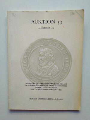 obverse: Auction Catalogue Monnaies de Lorraine et de Basse-Alsace, Monnaies de l'Espagne et de ses Colonies, Porträts auf Münzen, Deutsche Goldmünzen 1800-1872. 44 pages (with additional 28 tables). Basel 1979