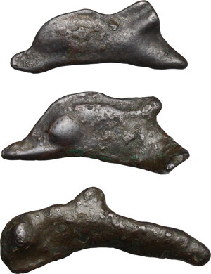 reverse: Skythia, Olbia. Lot of 4 AE Cast dolphin, late 5th-4th century BC