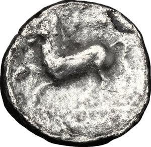 reverse: Northern Apulia, Arpi. AR Diobol, 325-275 BC