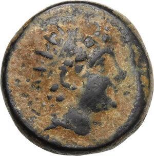 obverse: Syria, Seleucid Kings.  Antiochos VI Epiphanes Dionysos (144-142 BC). AE Unit, probably Apameia mint