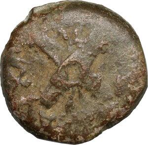 reverse: Judaea, Jerusalem.  Antonius Felix, Procurator 52-59.. AE Prutah in the name of Claudius, 54 AD