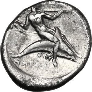 reverse: Southern Apulia, Tarentum. AR Nomos, circa 380-345 BC