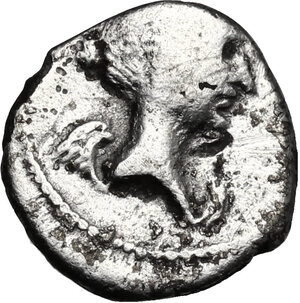 obverse: Fulvia, first wife of M. Antony (died 40 BC).. AR Quinarius, 43 BC