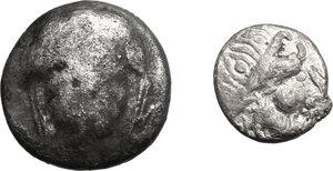 obverse: Celtic, Eastern Europe. Lot of two (2) AR denominations, including: Drachm of the Scordisci, Kugelwange type, 1st century BC and Tetradrachm imitating Larissa, 3rd century BC