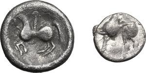 reverse: Celtic, Eastern Europe. Lot of two (2) AR denominations, including: Drachm of the Scordisci, Kugelwange type, 1st century BC and Tetradrachm imitating Larissa, 3rd century BC