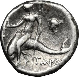 reverse: Southern Apulia, Tarentum. AR Drachm, 272-240 BC