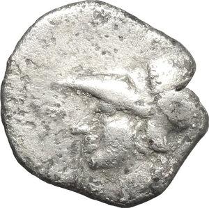 obverse: Southern Apulia, Tarentum. AR Diobol, 300-230 BC