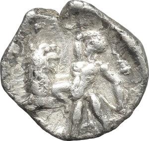reverse: Southern Apulia, Tarentum. AR Diobol, 300-230 BC