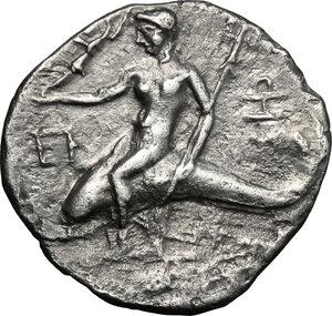 reverse: Southern Apulia, Tarentum. AR Reduced Nomos or Half Shekel, Hannibalic Occupation 212-209 BC