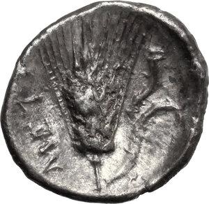 reverse: Southern Lucania, Metapontum. AR Diobol, 325-280 BC