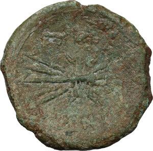 reverse: Bruttium, Vibo Valentia. AE As, circa 193-150 BC