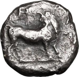 obverse: Bruttium, Laus. AR Triobol, circa 480-460 BC