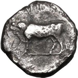 reverse: Bruttium, Laus. AR Triobol, circa 480-460 BC