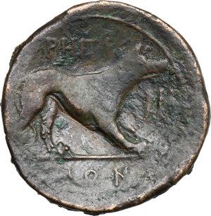 reverse: Bruttium, Rhegion. AE Tetrans, 215-150 BC