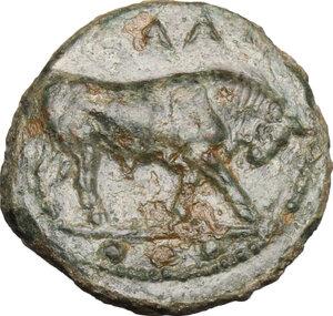 obverse: Gela. AE Tetras, 420-405 BC
