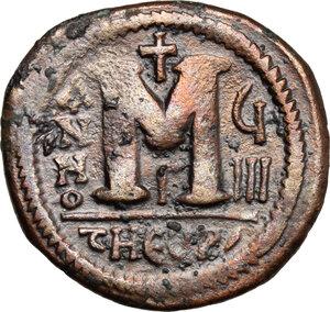 reverse: Justin II (565-578).. AE Follis, Theoupolis (Antioch) mint