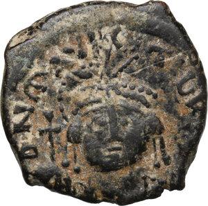 obverse: Maurice Tiberius (582-602).. AE Half Follis, Theoupolis (Antioch) mint, 589-602
