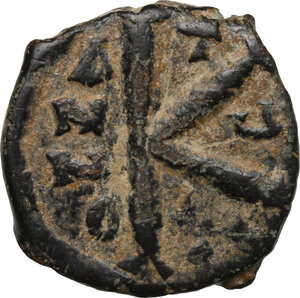 reverse: Maurice Tiberius (582-602).. AE Half Follis, Theoupolis (Antioch) mint, 589-602