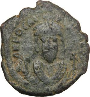 obverse: Phocas (602-610).. AE Half Follis, Constantinople mint