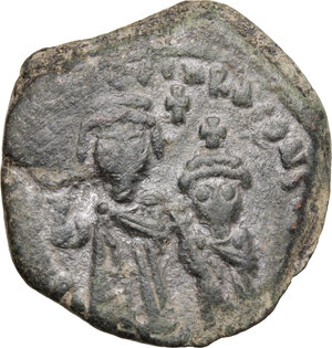 obverse: Heraclius, with Heraclius Constantine (610-641).. AE Follis, Cyzicus mint