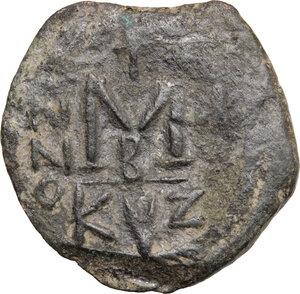 reverse: Heraclius, with Heraclius Constantine (610-641).. AE Follis, Cyzicus mint