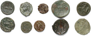 reverse: Greek Sicily.. Lot of 10 unclassified AE denominations
