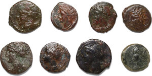 obverse: Punic Sardinia and Punic Sicily.. Lot of 8 unclassified AE denominations