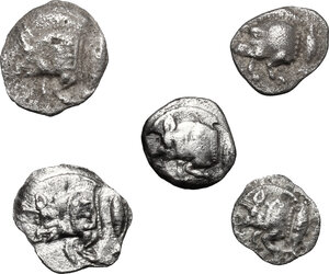 obverse: Greek World.. Lot of 5 unclassified AR small denominations of Mysia. Kyzikos