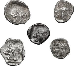 reverse: Greek World.. Lot of 5 unclassified AR small denominations of Mysia. Kyzikos