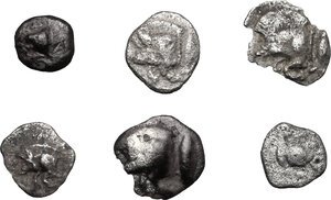 obverse: Greek World.. Lot of 6 unclassified AR small denominations of Asia Minor