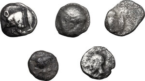 obverse: Greek World.. Lot of 5 unclassified AR small denominations of Asia Minor