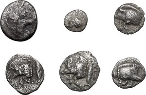 obverse: Greek World.. Lot of 6 unclassified small AR denominations of Asia Minor